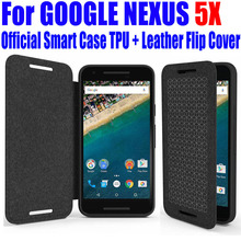 For GOOGLE NEXUS 5X 6P Case Official Best Quality Smart Case Silicon TPU Leather flip Cover for LG NEXUS 5X 6P +Screen Film L5X4(China)
