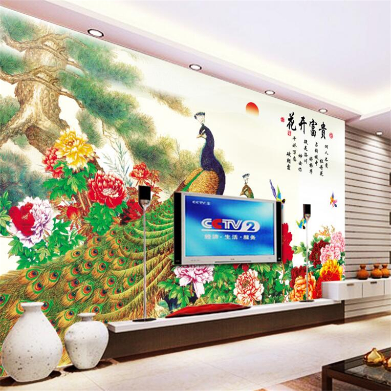 3D wallpapers picture flowers magnificent pine peacock peony murals 3d living room bedroom TV wallpapers for walls 3 d  mural<br><br>Aliexpress
