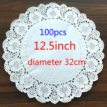 12.5inch/320mm Vintage napkin Hollowed Lace Paper mat Crafts paper Doilies Wedding Decoration(100pcs/bag)(China)