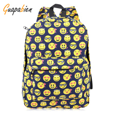Guapabien Kawaii Women Smile Face Print Canvas Backpack Korean Girls' School Travel Shopping Backpack Canvas Rucksack Bookbag