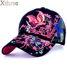 High quality baseball hat cap Butterflies and flowers embroidery cotton caps Casual hats snapback cap fashion for  women