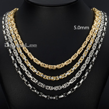 Personalized 5mm Mens Boys Byzantine Box Gold Tone Stainless Steel Necklace Chain Gift Promotion Wholesale Jewelry KNM103