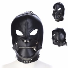 Buy Sex Mask Adult Games Erotic Fetish PU Leather Restraints Bdsm Bondage Headgear Hood Mask Slave Men sex Toys couples women