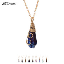SEDmart Handmade Colorful Wire Wrapped Raw Natural Stone Women Pendant Necklace  Pink Quartz Dursy Crystal Necklaces