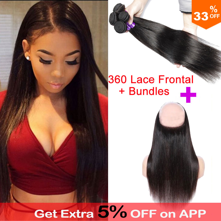 Pre Plucked 360 Frontal With Bundles 360 Lace Frontal With Bundle Brazilian Straight Hair 360 Lace Virgin Hair With Bundles<br><br>Aliexpress