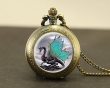 Blue Dragon Watch Necklace 1pcs/lot Fantasy wing Dragon pocket watch Pendant Quartz jewelry Watches time chain Gift mens women