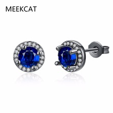 MEEKCAT Luxury Female Blue Round Fire Opal Stud Earring Vintage Black Gold Filled Double Earrings For Women New Year Gifts