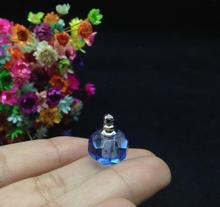 5pcs/lot Beautiful blue Ball Shaped Crystal glass Vial Pendant Screw On Cap Miniature Perfume trinket Bottle unisex diy gifts