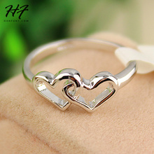 Top Quality Heart To Heart Forever Wedding Ring anel Silver Color Lover's Rings Jewelry For Women Bijoux R215 R252