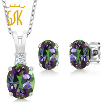 GemStoneKing 3.55 Ct Oval Rainbow Fire Mystic Topaz Pendant Necklace Earrings Set 925 Sterling Silver Jewelry Sets For Women