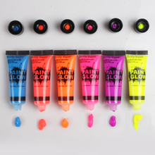 6 Colors Glow in Dark Body Art Paint 10ml UV Glow Face Body Paints Fashion Halloween Makeup Fancy Body Painting(China)