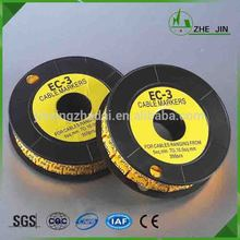 Zhe Jin PVC 10rolls/set EC-3 10mm 0-9 or A-Z Yellow Flat Colour Cable Markers(China)