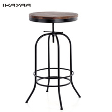 iKayaa Round Natural Pine Wood Top Bar Pub Bistro Table Height Adjustable Industrial Style Swivel Kitchen Breakfast Coffee Table