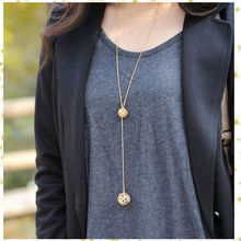 Hot Sale Classic Crystal Hollow Out Two Ball a Long Section of High Texture Flash Spher Golden Long Chain Necklace(China)