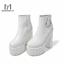 Ankle Boots Women White PU Leather Metal Decoration 14.5CM Extreme High Heels 2017 Autumn Brand Platform Gothic Shoes Woman(China)