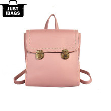 Simple style PU leather Solid color women double shoulders backpacks Fashion lock catch Multi color backpack for teenagers girls