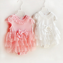 2017 Summer baby girl rompers princess formal dress outfit infant short sleeve body suit ropa bebe lace newborn baby clothes