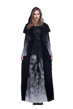 Adult Woman Halloween Scary Gothic Robe Dress Skeleton Pirate Wicca Costume Witch Vampire Evil Gown Hooded Cloak For Girls S-L