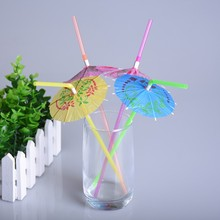 50pcs/lot 3D Design Straws for Birthday Wedding Decorative 3D Fluorescent Umbrella Shape Creative Party Drinking Straws