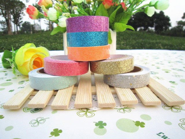 1pcs/lot New Colorful glitter fabric tape/good quality tinselled stick Adhesive Tape/wedding tape(China)