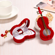 1PC Red Color Unique Violin Design Velvet Cloth Jewelry Display Gift Boxes Wedding Ring Earrings Necklace Display Accessories