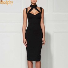Buy 2017 women sexy halter strap open back stripes celebrity bandage dress stretch sheath club party tight dress HL516
