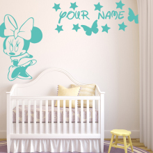Cartoon Mickey Mouse Girls Name Wall Stickers Mini Mouse Butterflies Custom name Wall Decals Personalized Name Cut Vinyl C20