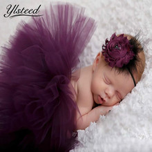 Baby Tutu Headband Costume Set Newborn Purple Tutu Skirt Rose Floral Hair Accessories Infant Photography Props Baby Girls Photo