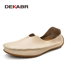 DEKABR Hollow Out Breathable New 2017 Summer Split Leather High Quality Fashion Casual Shoes Men Lovers Couple Flat Loafer Shoes