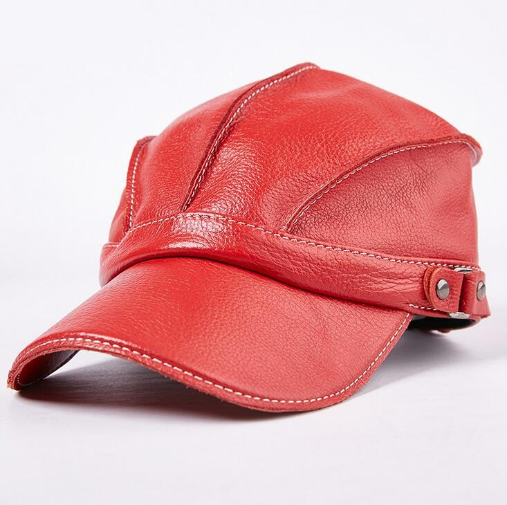 Xongkoro Full Grain Cow Leather Baseball Cap Boys Girls Superior Cowhide Sun Caps Black Red Brown Color Hat For Men Women<br>