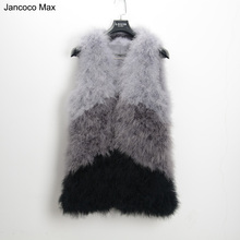 Jancoco Max S1425 New Mixed color Genuine fur vest Real Ostrich Feather Fur gilet Women's fashion Retail/Wholesale