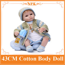 NPK Origin 43cm 17inch Reborn-Baby-Doll With High End Design Handmade Sweater And Hat Hot Welcome Bebes Menina As Christmas Gift(China)