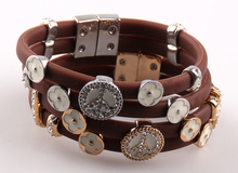 brown silicon magnetic peace bracelet with white epoxy & cz stone flower charm bracelets N plating lady's holiday gift(China)