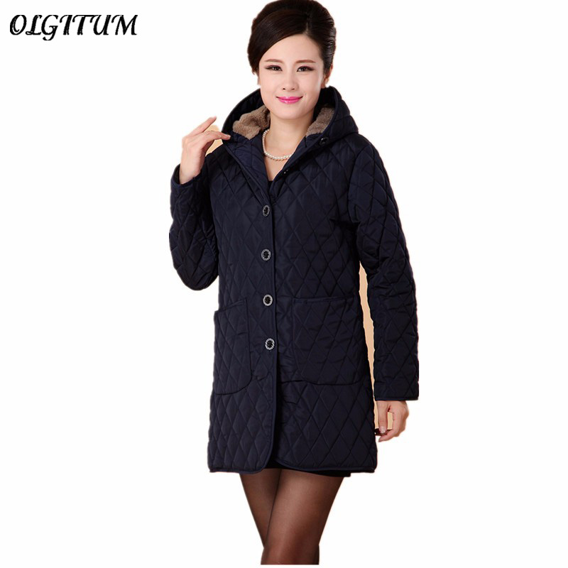 2017 Women jacket plussize Thick winter coat long middle-aged womens hooded cotton outwear elderly padded velvet coats oversizeÎäåæäà è àêñåññóàðû<br><br>