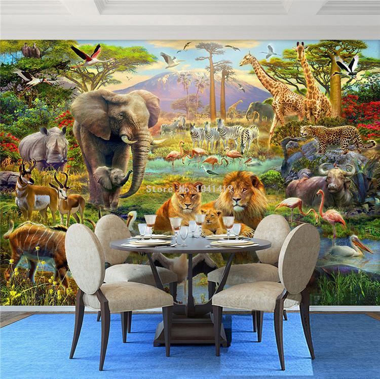 HTB1.ct6SVXXXXc4XXXXq6xXFXXXI - Custom Mural Wallpaper 3D Children Cartoon Animal World Forest Photo Wall Painting Fresco Kids Bedroom Living Room Wallpaper 3 D