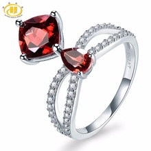 Hutang Natural Gemstone Garnet and Similar Diamond Solid 925 Sterling Silver Engagement Ring Fine Jewelry presents Gift New(China)