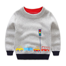 Boys Cotton Sweaters,Kids O-Neck Winter Clothes,Children Car Printed Casual Outerwear(China)