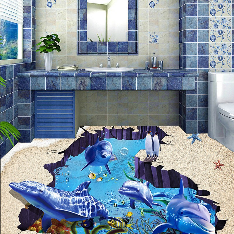 Free Shipping Underwater world beach 3d space dolphin TV backdrop floor wallpaper store amusement custom floor mural<br>