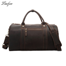 Men's Crazy horse Leather Boston bag Brown genuine leather travel duffle Vintage Cow Leather luggage tote bag large shoulder bag