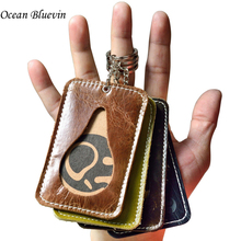 Simple Practical1 Bit Vintage Style ID Holders For Men Women Oil Wax Genuine Leather Cards Slot Bus Credit Card Holder 3 Colors