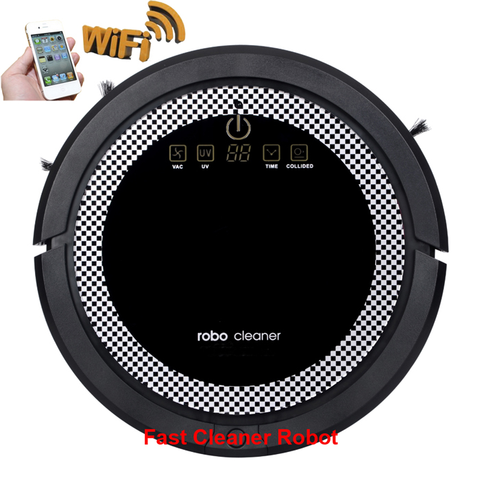 WIFI Smartphone App Control Robotic Vacuum Cleaner For Home With 3350mAH Li-ion battery,150ML water tank,5 Working Mode Optional(China (Mainland))