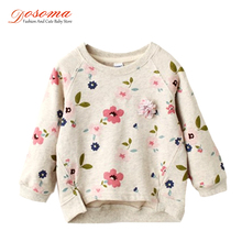 2017 new spring girls children's clothing casual shirts for girls sweatshirts collar fresh flowers full sleeved hoodies blouse