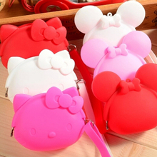 Silicone Cartoon Hello Kitty Wallet Solid Multicolor Hand Coin Purse Zipper Key Bag Kid Gift Bolsa L7523