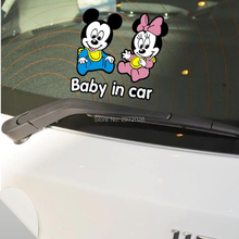 Mickey Minnie Baby in Car Stickers Lovely Heart Car Decal for Toyota Ford Chevrolet Volkswagen Tesla Honda Hyundai Kia Lada(China)