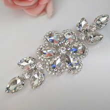 5x13cm 1pcs Clear Crystal White Sew On Rhinestone Applique Silver Base Sewing For Wedding Dress Decorations Y3765