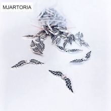 MJARTORIA 100PCs Beads Vintage Silver Tone Angel Wing Hollow Metal Beads DIY Bracelets For Women Charms Beads For Jewelry Making(China)