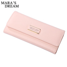 Mara's Dream 2018 Fashion Women Wallets Bag Popular Purse Long PU Leather Hasp Candy Color Handbags Card Holder Birthday Bags(China)