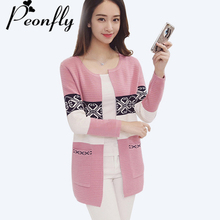 PEONFLY New Arrivals 2017 Autumn Winter Long Cardigan Female Long Sleeve Knitted Cardigans Women Sweater Jacke(China)