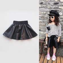 Spring Summer Baby Kids Girls PU Faux Leather Elastic Skirts Kids Black Short Skirt Tutu Skirt Children Clothing Girls Clothes(China)