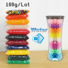 100g Mixed Color Crystal Soil Water Growing Beads Hydrogel Gel Jelly Polymer Big Up Balls Orbiz Wedding Decor Tracking Available(China)